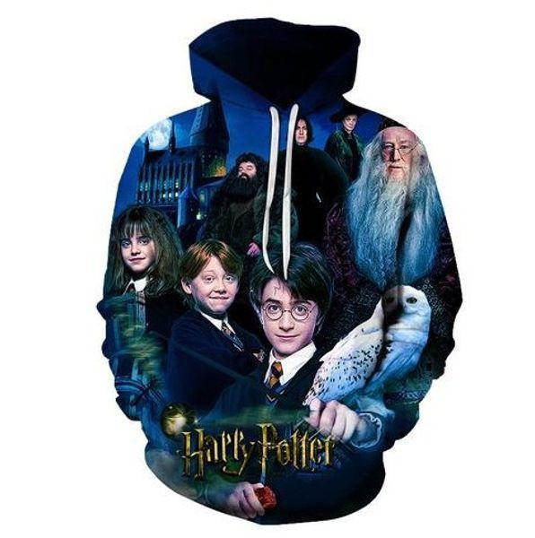Harry Diseñador 3D Sudaderas con capucha Adolescentes Hombres Mujeres Potter Otoño Primavera 19ss Sudaderas Jerseys