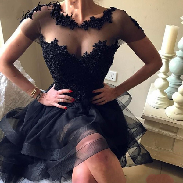Little Black Prom Dresses for Graduation Beaded Lace Short Party Gowns 2019 Cocktail Dress Scoop Backless Homecoming Dresses