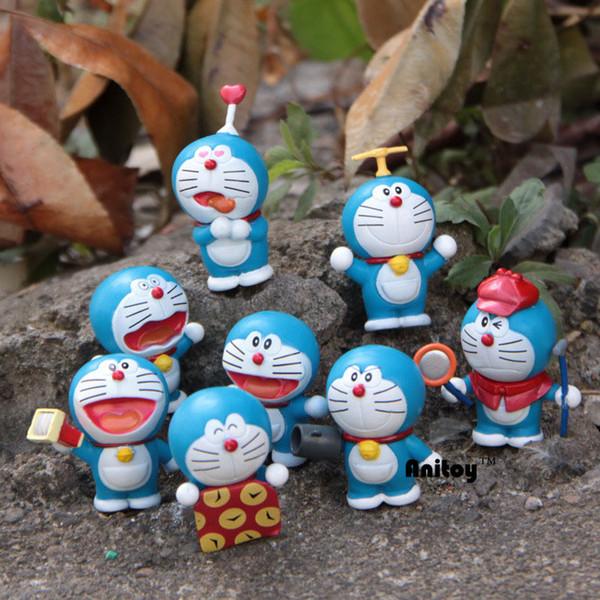 8pcs/set Anime Catoon Cute Doraemon Mini dolls PVC Action Figure Collectible Model Toys Girls Boys Children's Gift 4-6cm KT174