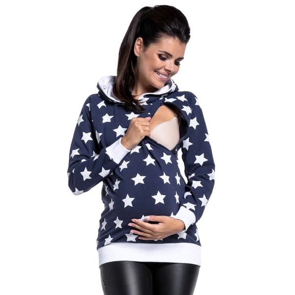 5b4ccea1da685 Women's Maternity Breastfeeding sweater Nursing Winter Hooded Sweatshirt  Star Outwear Tops Blouse Maternity Hoodie sweater