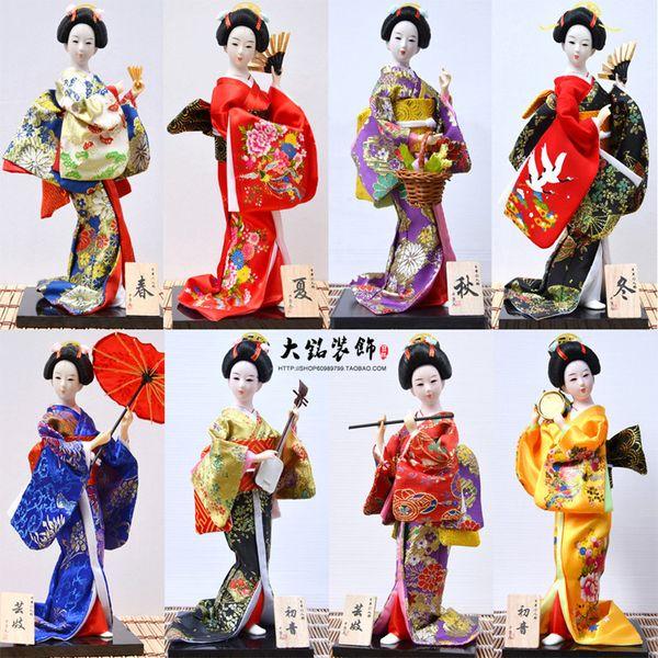 30 cm Kawaii Japonés Encantador Geisha Figurines Muñecas Con Hermoso Kimono Nueva Casa Decoración de Oficina Miniaturas Regalo de Cumpleaños Q190525