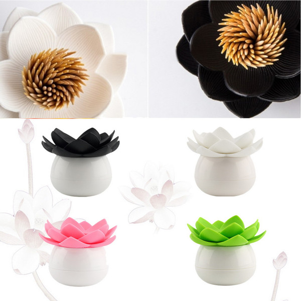 Lotus Flower Cotton swab box lotus cotton bud holder base room decorate / Lotus Toothpicks holder plastic box Worldwide