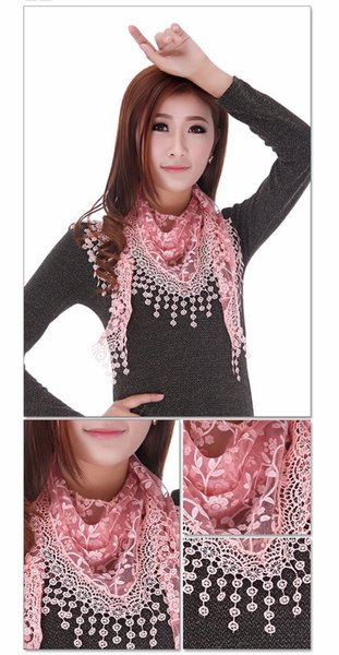 Vente en gros 5 photos Dentelle Sheer Floral Print Triangle Veil Church Mantilla Echarpe Châle Wrap Tassel