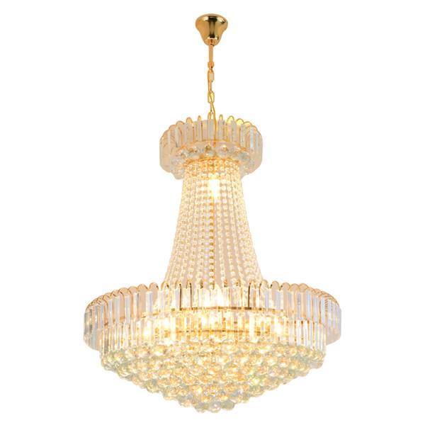 Cristal dorado Luz Redonda LED Lustre araña Hotel de lujo Villa Duplex Escaleras Lámparas Lámparas de araña accesorios de iluminación