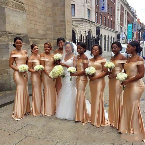 Africano Ouro Até O Chão Comprimento Damas De Honra Vestidos 2019 Novo Fora Do Ombro Sereia Sem Mangas Sexy Black Girl Wedding Guest Prom Dress