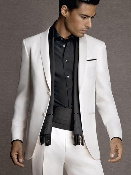 Custom Made Retro Best Men Suits Wedding Suits For Men White Shawl Lapel Vintage Groomsmen Formal Blazer 2 Pieces Jacket+Pants