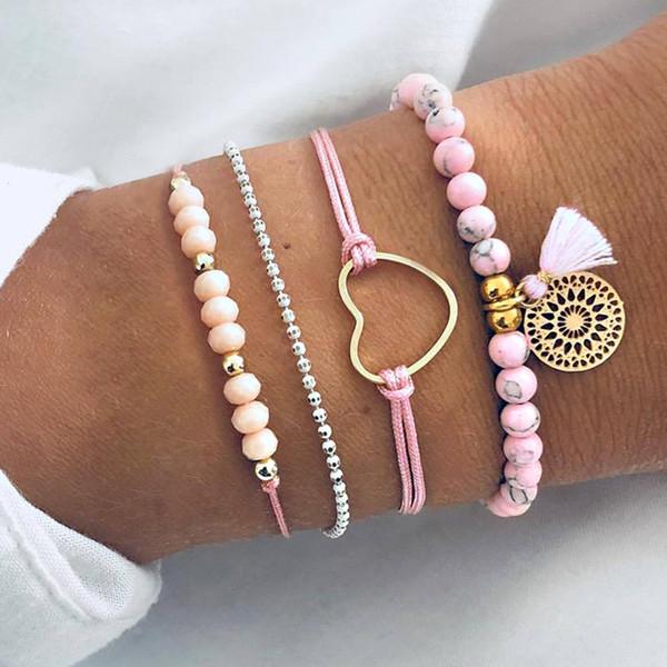 4 pçs / set mulheres exquisite oco contas rosa dream catcher borla coração amor cadeia de couro pingente de moda pulseira set