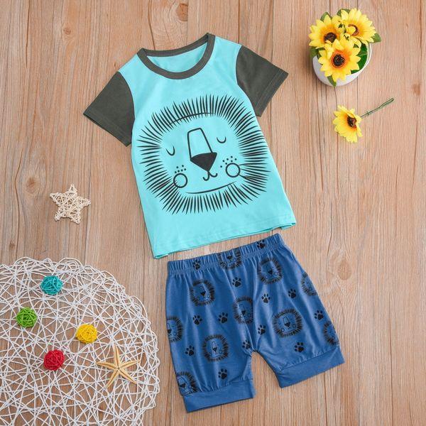 Bebê recém-nascido meninas meninos roupas 2 PCs de Manga Curta Dos Desenhos Animados Tops Camisa + Calças Roupas Set roupas infantis roupa menina