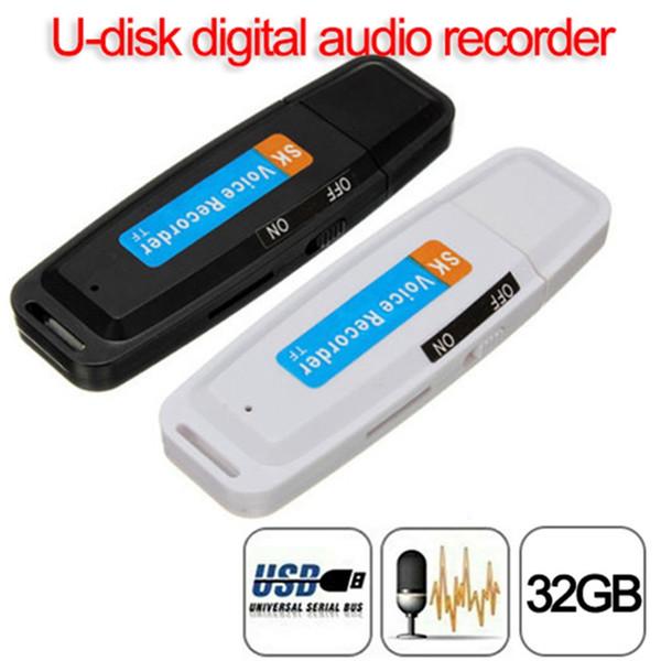 U-Disk Dijital Ses Kaydedici Kalem USB Flash Sürücü ses kaydedici 32 GB'a kadar Micro SD TF Kart Mini kulaklık kalem