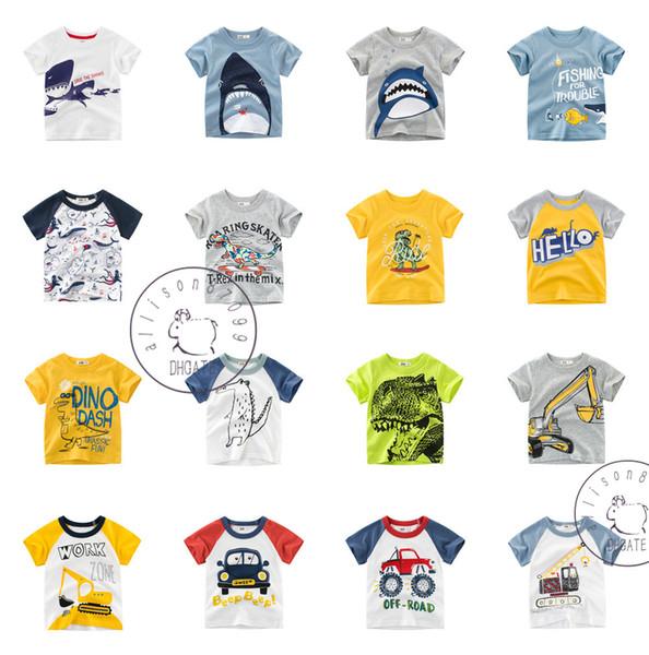 Karikatur-Haifisch-Dinosaurier-Kran scherzt Jungenkleidung T-Shirts T-Stück Kurzschlusshülse Baumwolle 100% Billiggroßverkauf 2019 Sommer 1-10Y