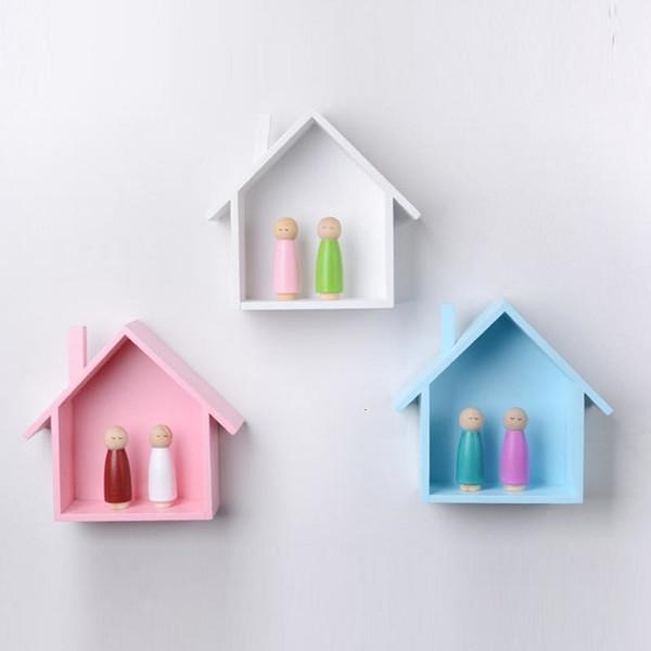 Acheter Petite Maison Forme Mur Etagere Affichage Suspendu Mural D Etagere Etagere Maison En Bois En Forme De Chambre A Coucher Pour Enfants