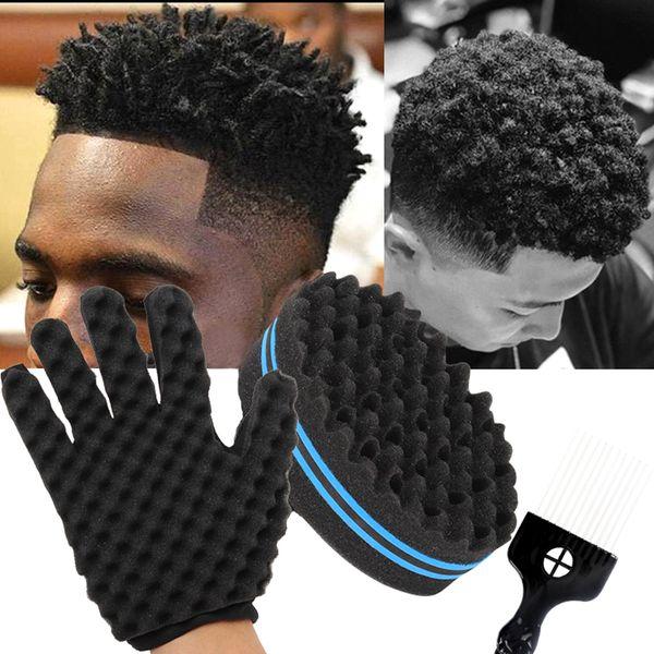 Barber Shop Men Hair Braider Twist Sponge Gloves African Hair Styling Horquilla Peine Rizos de pelo Espuma para salón