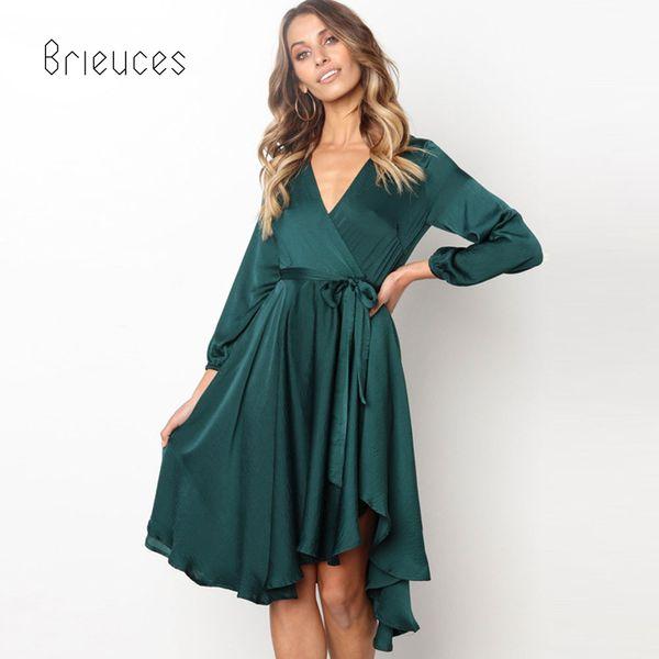 Brieuces Boho Manga Longa Outono Inverno Elegante Vestido Sólido Verde Escuro Mulheres Vestido V Neck Lace Up Sexy Vestido de Festa Vestidos