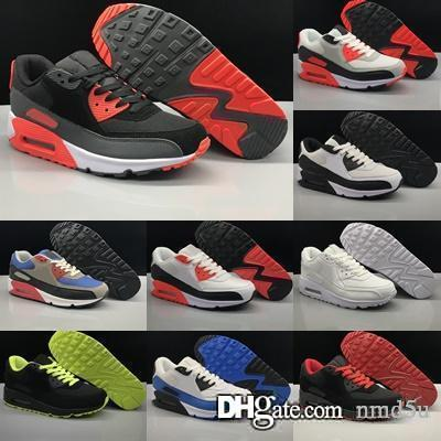 2019 mode Air coussin 90 Hommes Femmes Chaussures Années 90 Noir En Cuir Rouge Blanc Infrared Trainer Respirant Taille US 5.5-11
