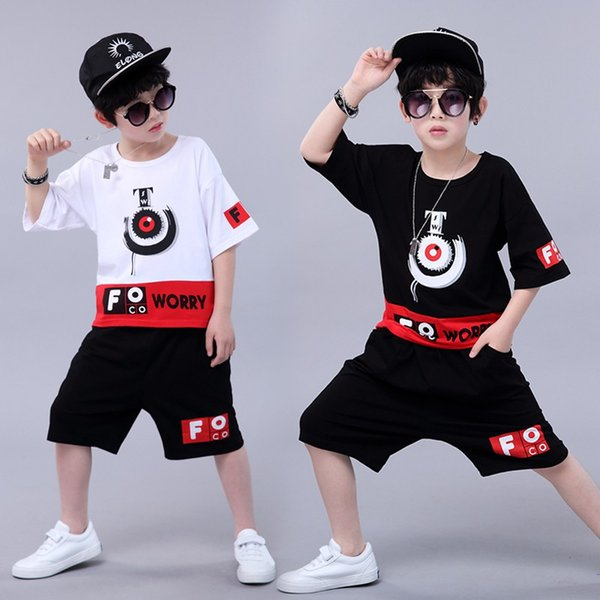 Children Clothes for Boys Fashion Summer Short Sleeve T-Shirt Round Collar Casual Tops+Loose Tide Hip-Hop Print Shorts