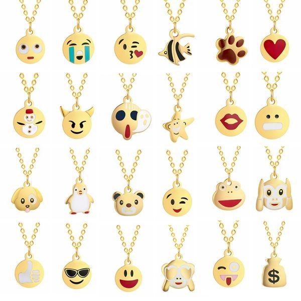 Fashion Golden Statement Necklace Women Baby Children Kids Boho Jewelry Cute Emoji Pendant Animal Chain Necklaces Gift