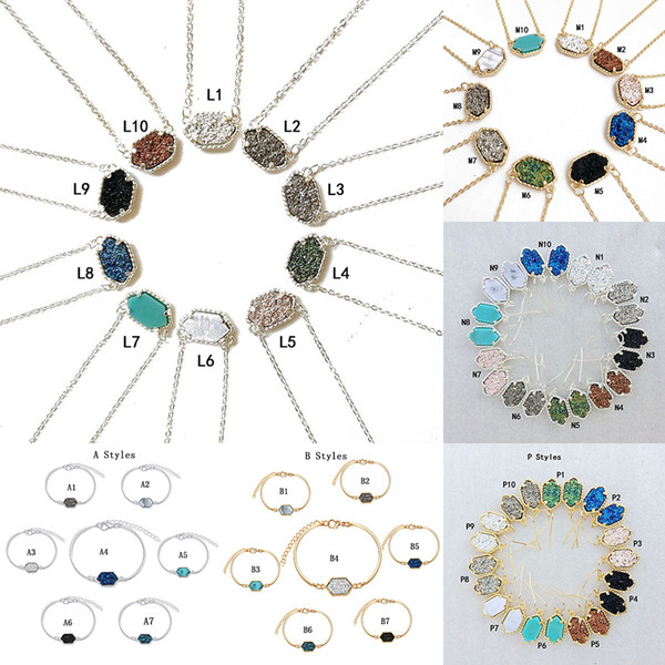 best selling New Druzy Stone necklaces Dangle Earrings Geometric Natural stone Pendant Charm Bracelet Rings For women Girls Fashion Jewelry in Bulk