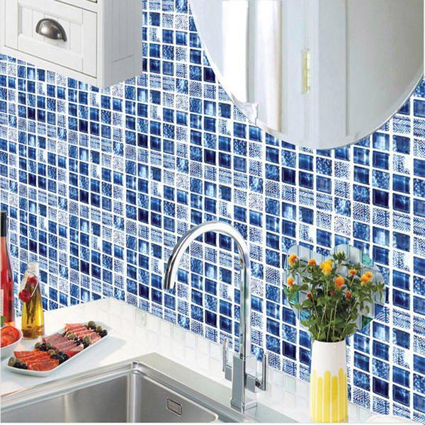 20 cm * 20 cm carreaux de mosaïque en céramique sticker mural 3d cuisine salle de bains toilettes murale imperméable chambre stickers PVC papier peint