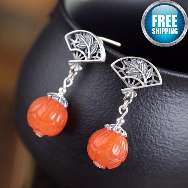 925 Silver Natural South Red Agate Leaf Earring Temperament Grace Nation Wind Ear Rings Boho Statement Earrings