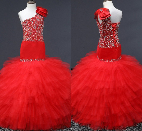 2019 Ruffles Mermaid Glitz Pageant Dresses One Shoulder Feather Bow Beaded Sequins Flower Girl Dresses Special Occasion Dresses Kids Teens