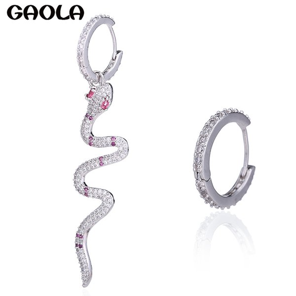 GAOLA Brand Unique Design Multi Cubic Zircoia Micro Pave Setting Snake Dangle Earrings For Women