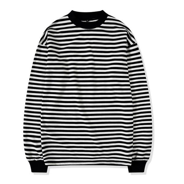 Oversize Street Style para hombre sudadera con cuello redondo en blanco y negro a rayas acanalado manga larga Pullover envío gratis