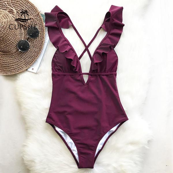 cd3d96bba97a1 2019 Cupshe Burgundy Heart Attack Falbala One Piece Swimsuit Women Ruffle V  Neck Monokini 2019 New Girls Beach Bathing Suit Swimwear T3190601 From ...