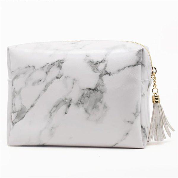 Large Capacity Beauty Toiletry Bag With Tassel Marble Pattern PU Leather Cosmetic Makeup Bag For Travel Portable Wash Pouch