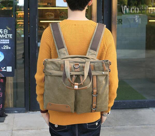 Original Design Easily High-end Men Canvas Bag To Restore Ancient Ways Recreational Mens Canvas Briefcase Multi-function Computer Canvas Bac