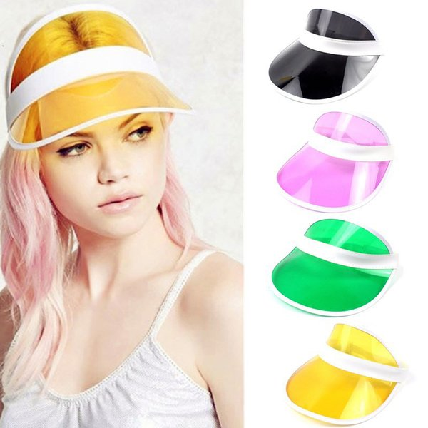 Summer Unisex Women Men Sun Hat Candy Color Transparent Empty Top Plastic PVC Sunshade Hat Visor Caps Bicycle Sunhat