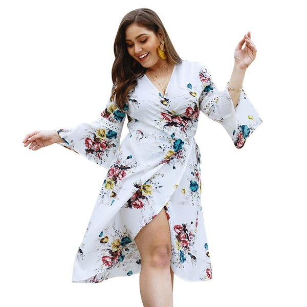 3 Colors Plus size Women clothing Summer Dresses Floral Print Cross V neck High-low Flare sleeve Lace patch Sexy clothes 4XL Hot selling