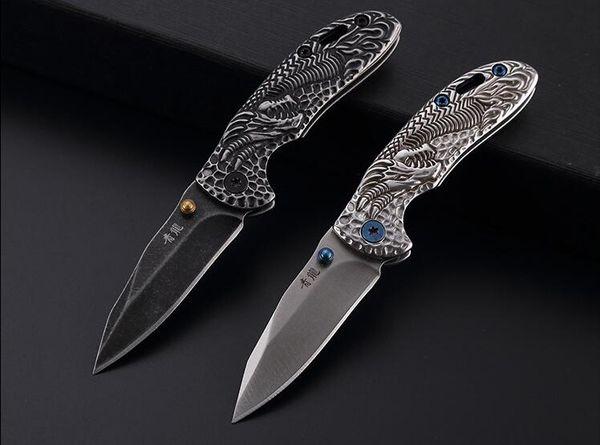 Yeni sıcak satış açık katlanır bıçak hediye pocket knife Siyah ejderha koleksiyonu 440C blade EDC araçları ücretsiz kargo toptan fiyat kamp aracı