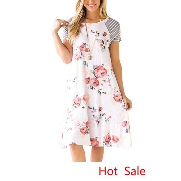 Holiday Boho Summer Beach Vestidos de mujer Vestido estampado floral con estampado bohemio de manga corta Vestido de niña de playa