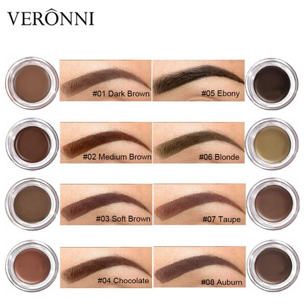 VERONNI 8 Cor Henna Maquiagem Sobrancelha Tint Sobrancelha Pomada Gel À Prova D 'Água Cosméticos Coreano Olho Maquiagem Sobrancelha Creme com Escova