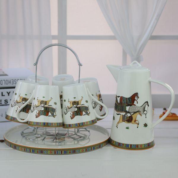 Luxury Drinkware 8 pcs European Ceramic Tea Set Bone China coffee set Coffee Pot Coffee Jug Cup Saucer set