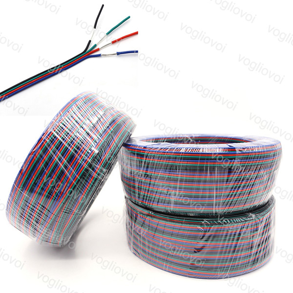 Kabel 4pin kabel für rgb veränderbare farbe 5050 3528 2811 led streifen 100 mt / los 100 mt lange rgbw draht kupfer 22 awg dhl