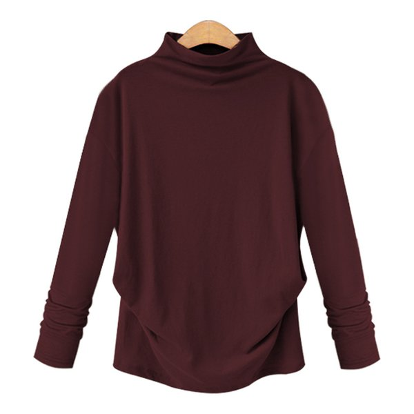 Manches longues Femme 2019 Nouveau T-shirt Décontracté Grande Taille Lâche Chemise Col Mi-Haut Dénouement T Shirt Plus La Taille 6XL Tee Tops