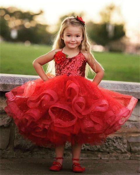 Lovely Red Tea Length Girls Vestidos del desfile Halter Lentejuelas Lace Puffy Vestido de primera comunión Organza Cute Flower Girls Dress Z106