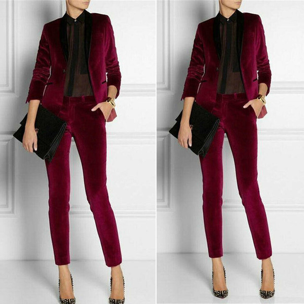 Burgundy Velvet Women Ladies Suit 2 Pieces Mother of the Bride Suits Formal Business Women's Office Dress For Wedding