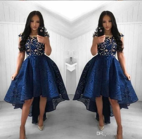 2019 neue marineblau cocktailkleider eine linie rundhalsausschnitt spitze high low prom dress kurze partei arabische abendkleider vestidos