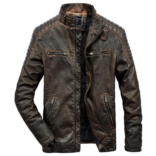 Echte echte Lederjacke Männer Für Motorräder Vintage Braun Schwarz Parka Schlank Männlichen Winter Warme Lässige Moto Biker Jacke Mantel