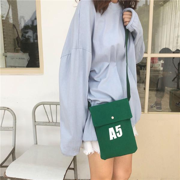 Korea Fashion Canvas Shoulder Bag For Womne 2019 Hot Female Crossbody Flag Bag A5 Print Girl Cell Phone Pocket