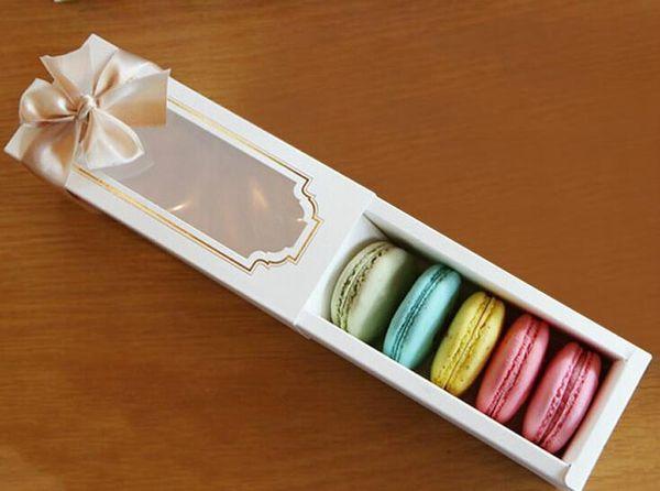 Macaron Kutusu Kek Kutusu Bisküvi Muffin Box15.5 * 6.5 * 5 cm Ev Yapımı Ekmek Için Macaron Kağıt Parti Kutuları Cupcake