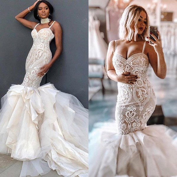 Plus Size Straps Nude Mermaid Wedding Dresses 2019 Ivory Pattern Lace  Applique Tiers Long Train Arabic Formal Spaghetti Bridal Wedding Gowns  Modern ...