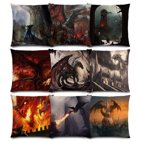 Fire Dragon Eragon Fierce Battle Warrior Fighting War Sky Castle Nest Magic Sword Good Cushion Cover Sofa Throw Pillow Case