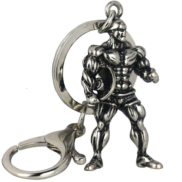 Fashion creative fitness key chain 3D solid alloy muscle male key chain fitness surprise small gift