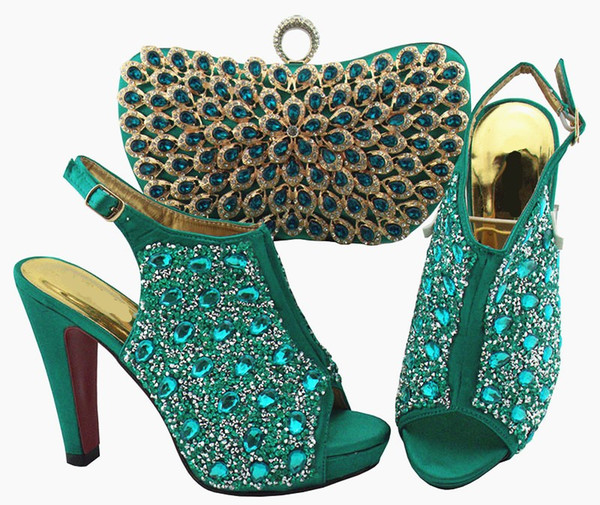 High quality teal women pumps and bag set with colorful crystal decoration african shoes match handbag for dress QSL005,heel 12cm