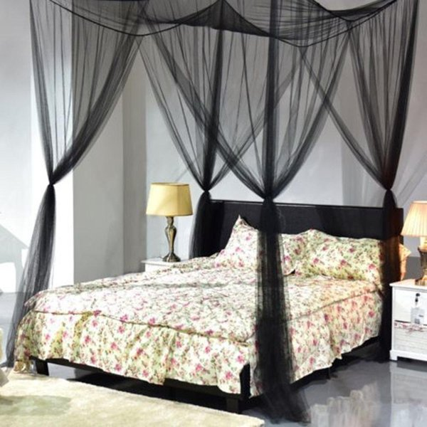 Black Four Doors Princess Mosquito Net Double Bed Curtains Sleeping Curtain  Bed Canopy Net Full Queen King Size Brand New Mosquito Net For Cot Outdoor  ...