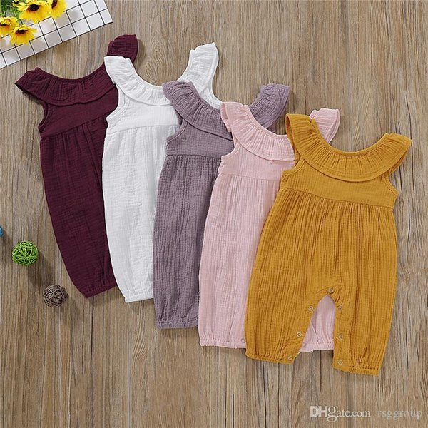 INS Stylish Infant Baby Girls Overalls Rompers Summer Turn-down Collar Blank Boys Jumpsuits Toddler Outfits Cotton Bodysuits Suspender 0-2T