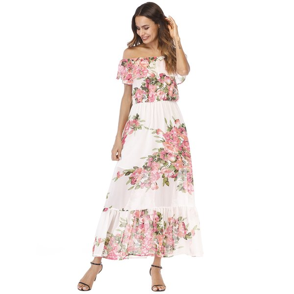 Sexy Women Chiffon Maxi Dress Off Shoulder Floral Print Ruffles Summer Beach Dress 2019 Elegant Holiday Slim Long Dress White